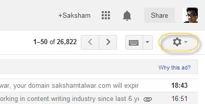 gmail gear icon