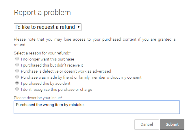 ask for a refund in google play using a web browser