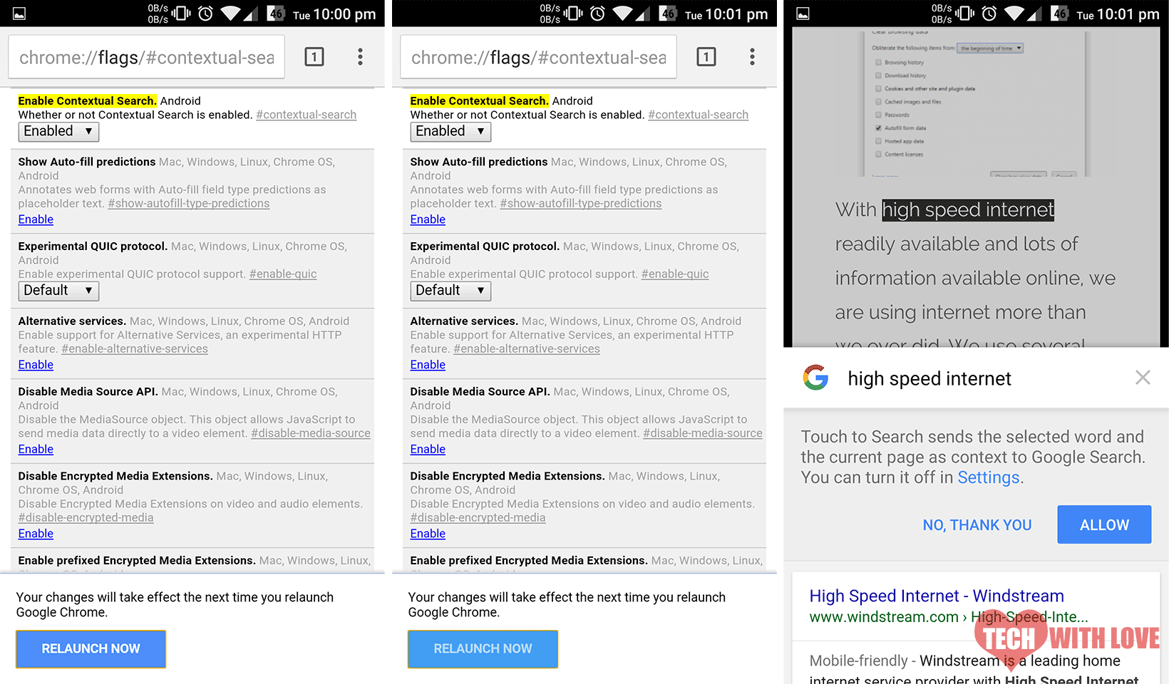 enable touch to search on google chrome for android 4